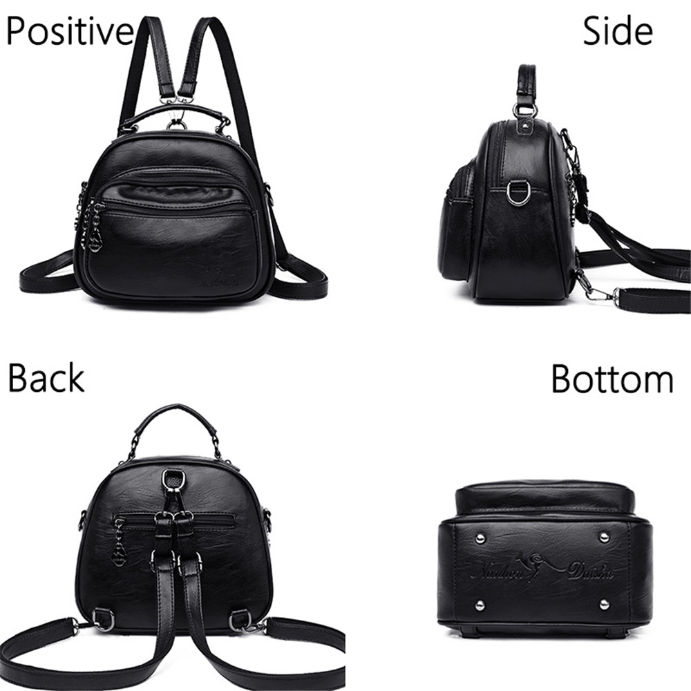 Women 39 s mini backpack women Leather backpack Solid color small Mochilas mujer Lady school bag Brown backpack female Sac a Dos in Backpacks from Luggage amp Bags