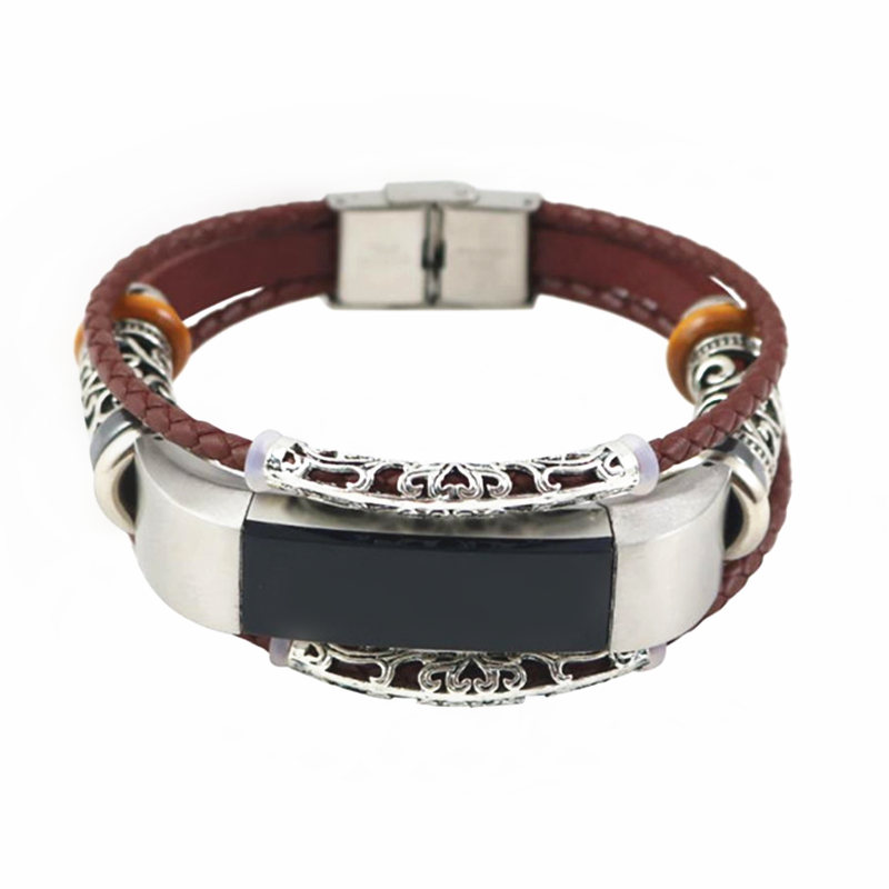 LNOP Exquisite Strap For Fitbit Alta HRAlta Replacement band Leather+Metal Bracelet Wristband wrist belt watchband