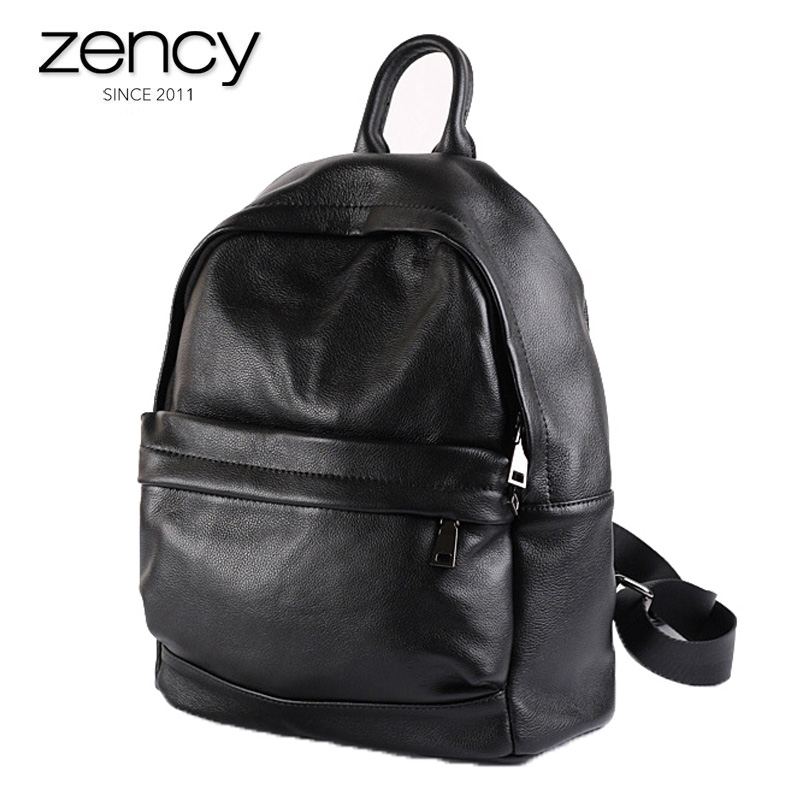 2018 Hot Sale High Quality Cow Genuine Leather Backpacks Simple Black Travel Bags European and American Style Women Bag Purse