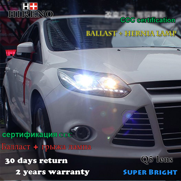 Hireno Car styling Headlamp for 2011-2014 Ford Focus Headlight Assembly LED DRL Angel Lens Double Beam HID Xenon 2pcs Car hireno headlamp for 2012 2014 ford ecosport headlight assembly led drl angel lens double beam hid xenon 2pcs