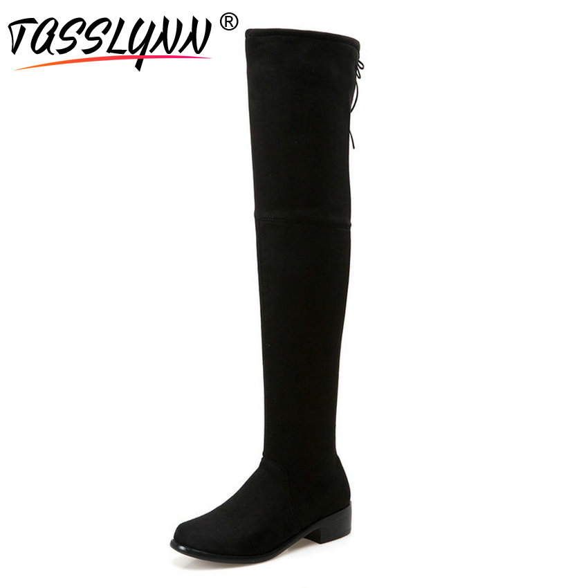 TASSLYNN 2018 Women Boots Thick Heels Fashion Boots Flock Stretch Fabric Over The Knee Boots Lace Up Party Women Shoes Size 39