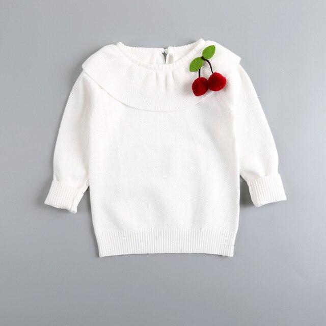Дети свитер детские длинными рукавами вишня свитер девушки белый кардиган 2016 осень новый О-Образным Вырезом сладкий пальто пуловер vodolazka