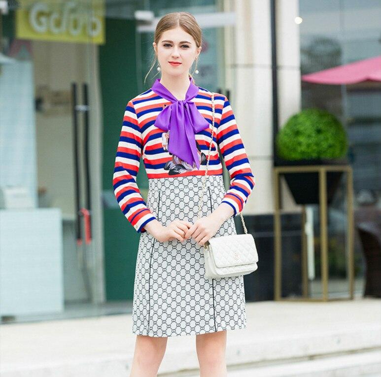 Mignon Contraste Arc xl A De Pleine Taille La Printemps Mode ligne Dame Robe Grand Rue Cravate Manches Couleur Femmes Pour Patchwork Robes S qFIwxa50