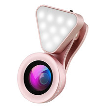 3 in 1 Cell Phone Lens 3 Adjustable Fill Selfie Light 15X Macro 0.4X-0.6X Wide A