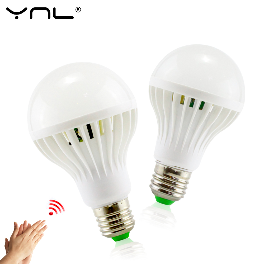 YNL E27 LED Sound Sensor Lamp 220v Led Bulb 3w 5w 7w 9w 12w White Auto Smart Infrared Body Sensor Light smart bulb e27 7w led bulb energy saving lamp color changeable smart bulb led lighting for iphone android home bedroom lighitng