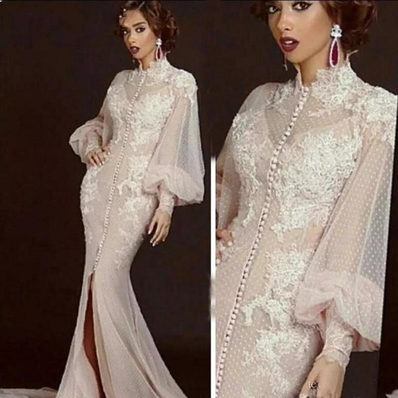 Arabic Moroccan Mermaid Evening Dresses 2019 Elegant Women Celebrity Long Sleeves Dubai Caftans High Neck Split Formal Gown