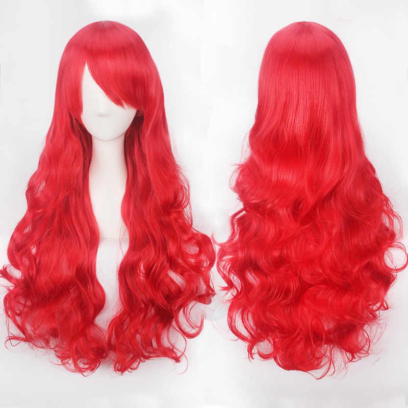 20 renkler kadınlar sentetik saç kırmızı pembe mavi turuncu kıvırcık vücut dalga saç yetişkin için yüksek sıcaklık Fiber kaliteli cadılar bayramı peruk
