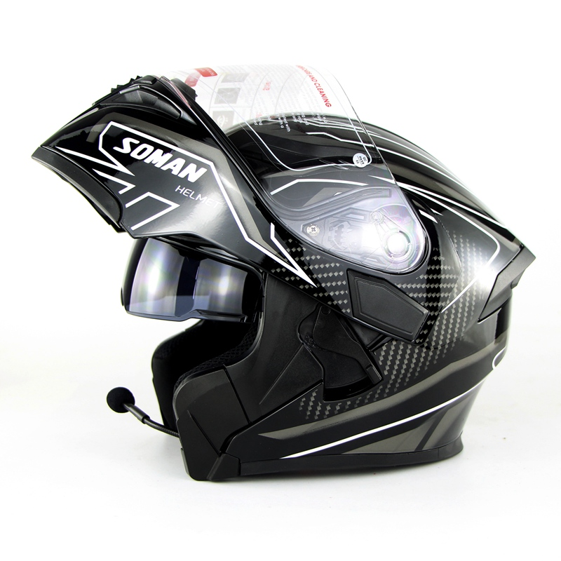 DOT Aproved Double Visor Motorcycle Full Face Helmet Motorbike Flip Up Helmets Moto Capacete Casque Caseo With Bluetooth Headset