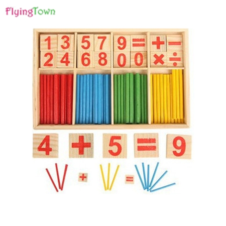 Wooden math toys for children baby 3 years old Child spillikin stick counting stick preschool Educational toys montessori toy