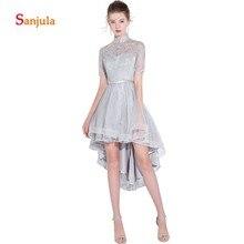 High Neck Short Sleeve Grey Prom Dresses High Low Lace Bridesmaid Dresses Satin Short Front Back Long Graduation Dresses D566 все цены