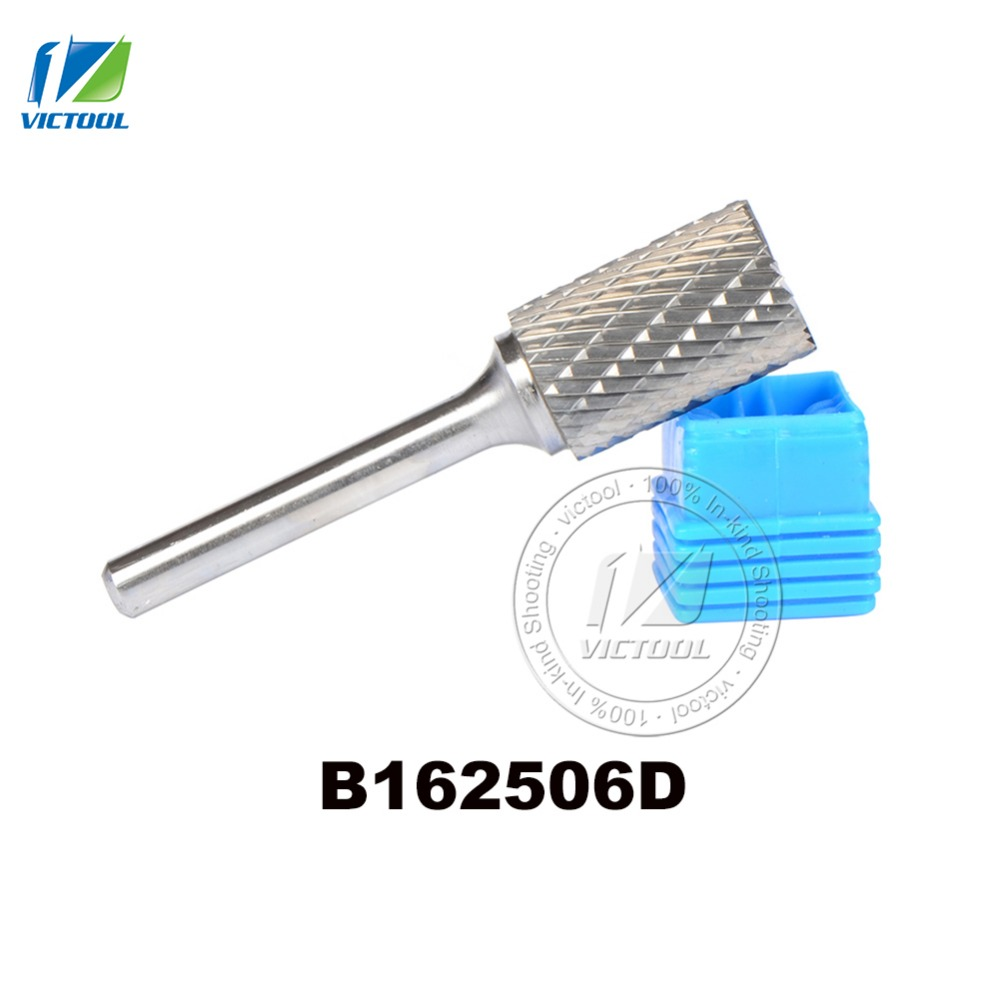 1pc B162506 16*25mm carbide cylinder head with end cut rotary burr file grinding  abrasive tools  6mm shank milling cutter sharp black steel carbide rotary file cutter grinding head abrasive high speed