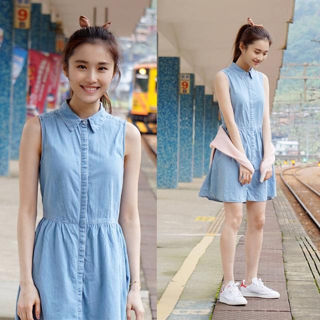 1a9fae34e4c2 School girls casual denim sundress women summer high waist sleeveless light  blue jeans vest dress for female