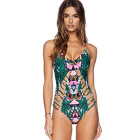 M M One Piece Swimsuit Trikini Sexy 2017 Swimwear Women One Piece Floral Print Green Leaf