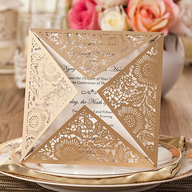 Laser cutting lace Elegant Wedding Invitation Engagement Invitation ...