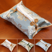Chinese Buckle Luxury Fabric Christmas Tissue Box Cover Home Decor Silk Satin Removable Facial Napkin Case High End Kleenex Box