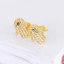Beautiful Pave Setting Crystal Hamsa Earrings Meaningful Hamsa Earrings The Hand of God Earrings – Silver, Gold