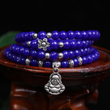 New Fashion 6mm blue Djyed Lapis Beads Tibetan Buddhist 108 Prayer Beads Necklace Gourd mala Prayer Bracelet for Meditation