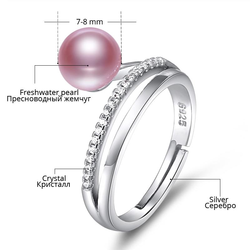 DAIMI Ring 7-8 MM Süßwasser Perle Ring 6 Farbe Mode Nettes Geschenk - Edlen Schmuck - Foto 5