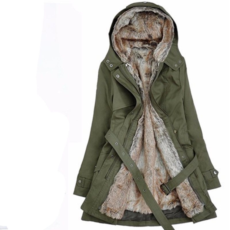 ФОТО 2016 autumn Thick Faux fur lining women's winter plush liner windbreaker jacket and long sections Korean Slim cotton coat QW0762