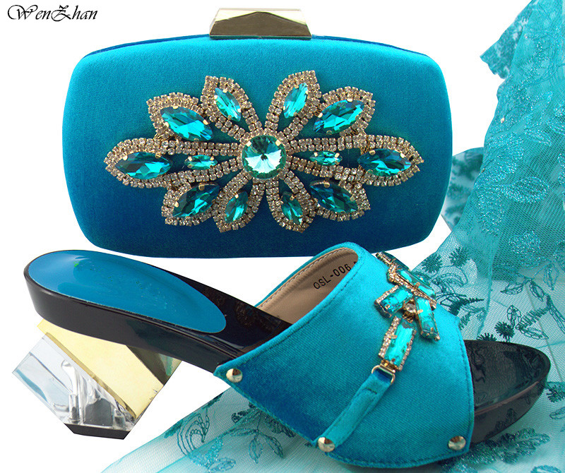 Fashion style Shoes and Bag To Match Sky Blue Color Italian Women Shoe and Bag To Match for Parties Size 38-42 7.5CM B89-22 fashion green color shoes and bag to match italian women shoe and bag to match for parties african shoes and bags matching set
