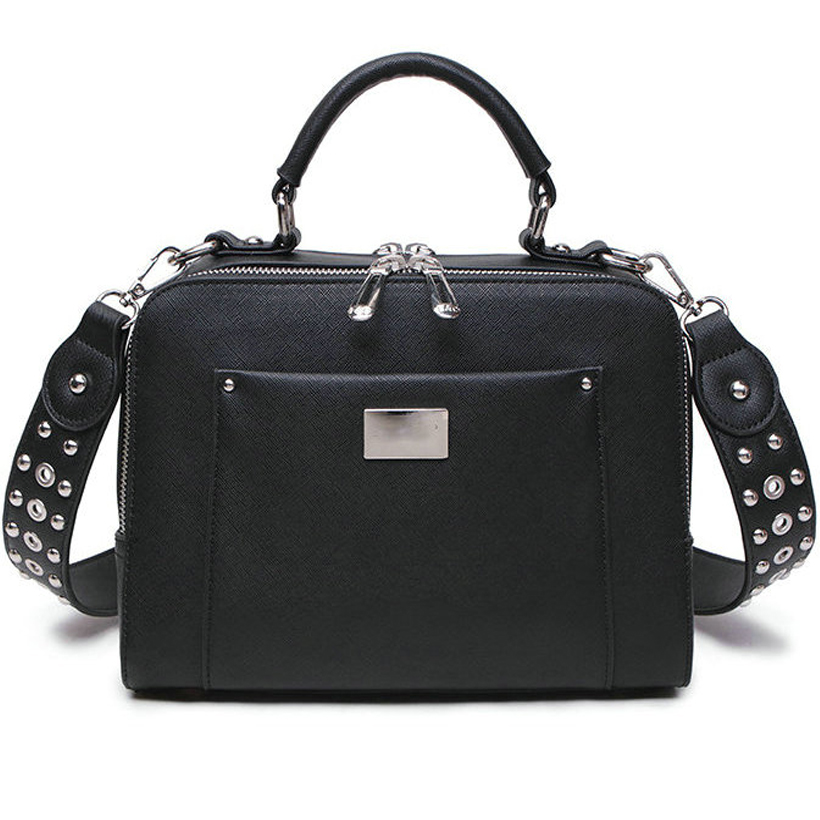 small Women Shoulder Bag High Quality PU Leather Rivets Shoulder Bags for Girls Ladies Yellow black Fashion Wide Belt Flap bag contrast pu wide belt