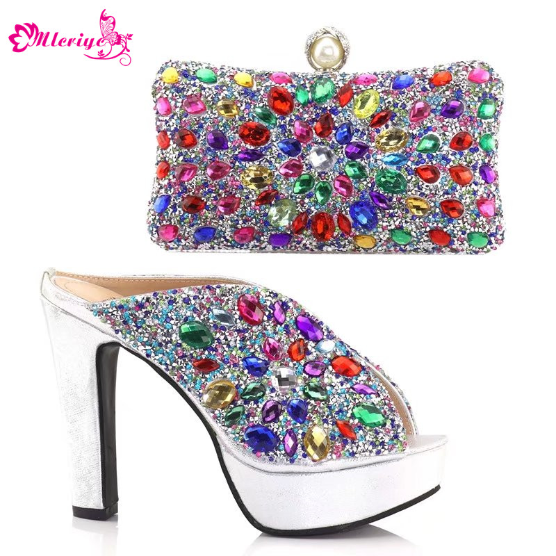 Designer Shoes Women Luxury 2018 Nigerian Women Wedding Shoe and Bag Decorated with Rhinestone Summer Low Heeled Shoes for Women chic women s rhinestone decorated floral ring
