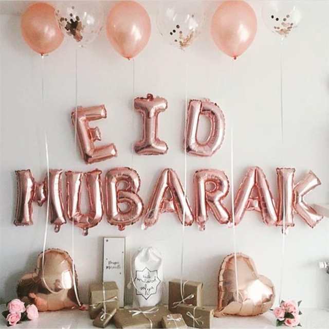 EID Mubarak Rose Gold Letter Balloon Gold Foil Balloons for Muslim Islamic Party Decorations Eid al firt Ramadan Party Supplies