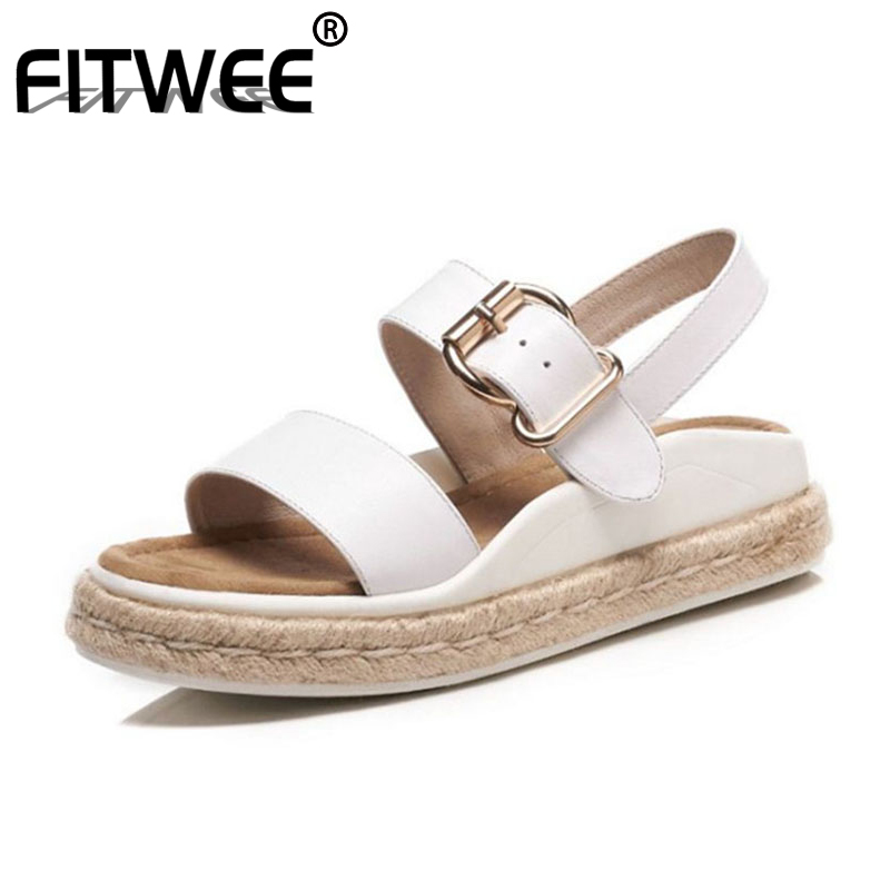 FITWEE Women Simple Fashion Real Leather Women Sandals Ankle Strap Flats Sandals Summer Daily Shoe Women
