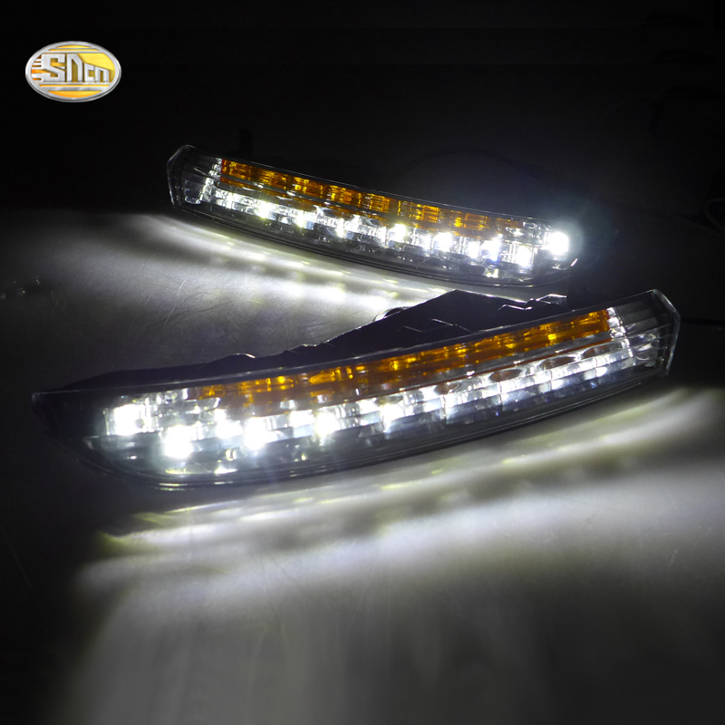 SNCN LED Daytime Running Lights for Volkswagen Vw Passat CC 2010 2011 2012 2013 DRL Fog lamp with yellow turning signal lights led drl daytime running lights for hyundai tucson ix35 2010 2011 2012 2013 with fog lamp light hole quality assured