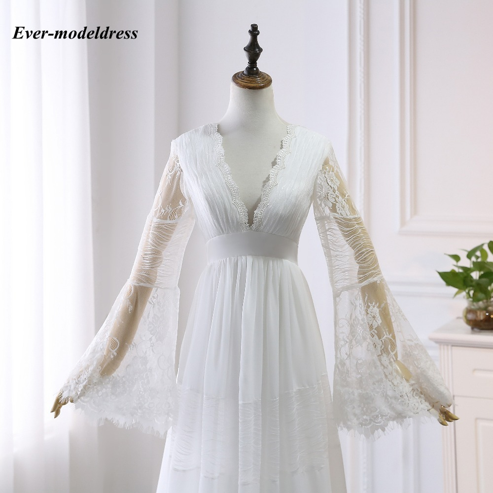 Image 5 - 2019 Lace Boho Wedding Dresses Long Sleeves A Line Backless Sweep Train Pleats Beach Bridal Gowns Bride Dress Vestido de noiva-in Wedding Dresses from Weddings & Events