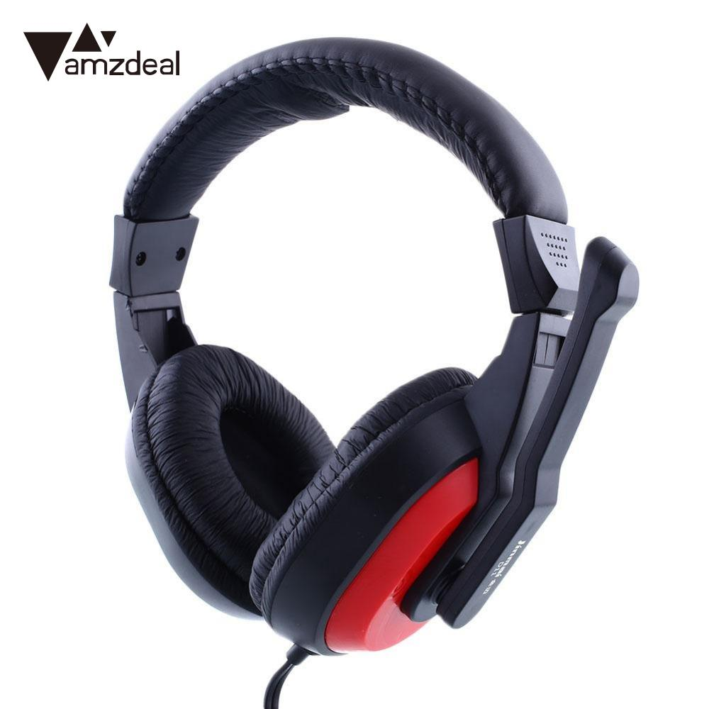 amzdeal Skype video Gaming Stereo Overhead Earphone Headphones Headset Headfone For PC Computer Notebook Gamer movies music 2016 pro skype gaming stereo headphones headset earphone mic pc computer laptop sa 708 gaming headphones