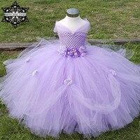 Princess tutu tul vestido de niña de flores kids party pageant vestido de tutú de la boda vestido de dama de lavanda enfant bata