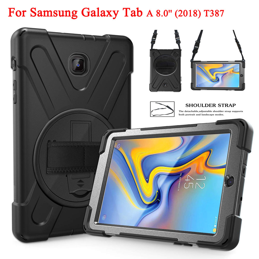 For Samsung Galaxy Tab A 8.0 2018 Case T387 ,Kids Heavy Duty Protective Case With Hand Strap, Shoulder Strap& Rotating Kickstand