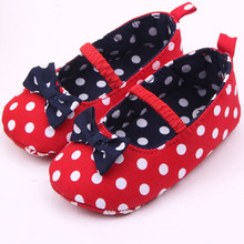 Factory Price! Baby Girl Soft Sole Shoes Dots Bowknot Toddler Anti-slip Shoes Newborn