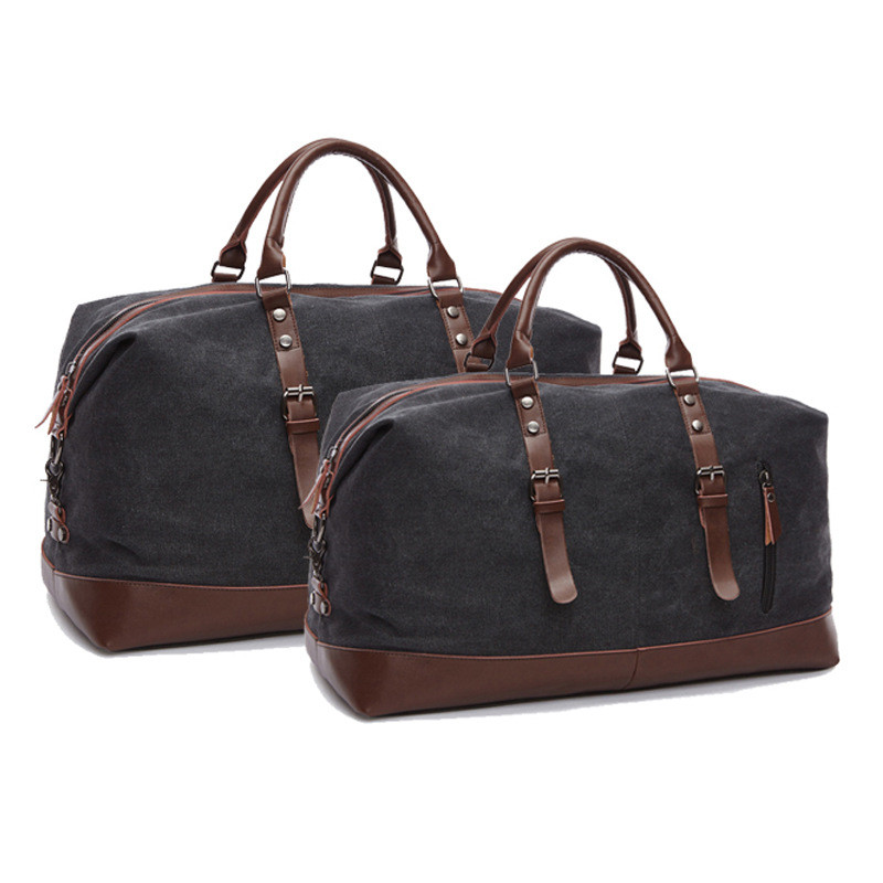 Vintage Travel Bags Canvas Leather Men Carry On Luggage Bags Men Duffel Bags Handbag Travel Large Capacity Weekend Bag Overnight