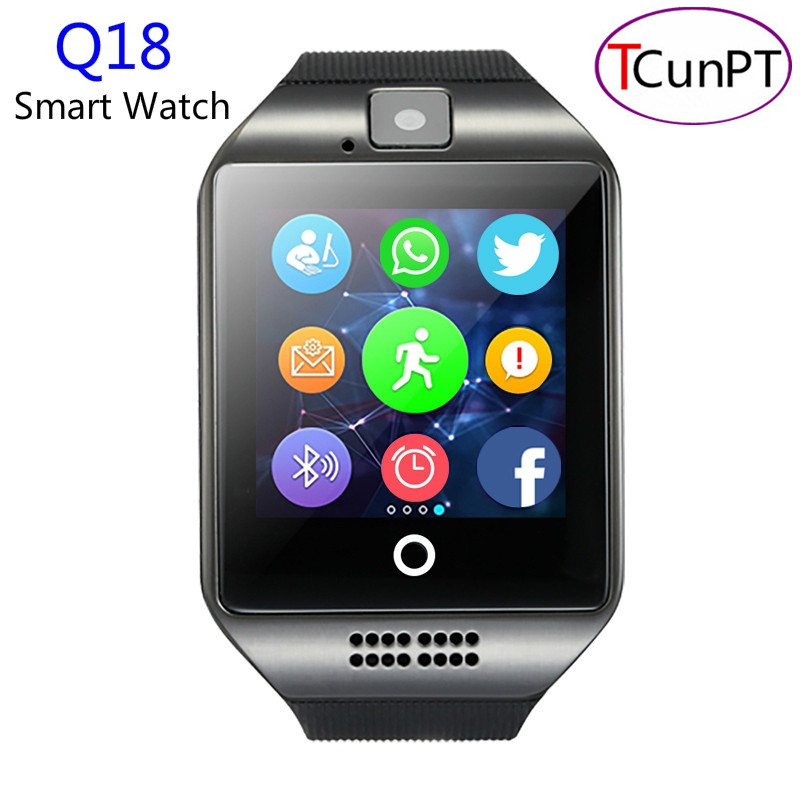 10 шт./лот Новая мода <font><b>Q18</b></font> Шагомер Смарт часы с Сенсорный экран Камера TF Bluetooth <font><b>SmartWatch</b></font> для Android IOS Телефон