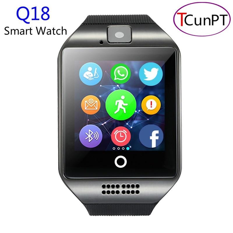 10 unids/lote nueva moda q18 pasómetro smart watch con pantalla táctil cámara tf