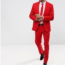 Красный Пром Мужчины Костюмы для Вечернего Сценического Платья 2 Шт. Зубчатый Отворот На Заказ
