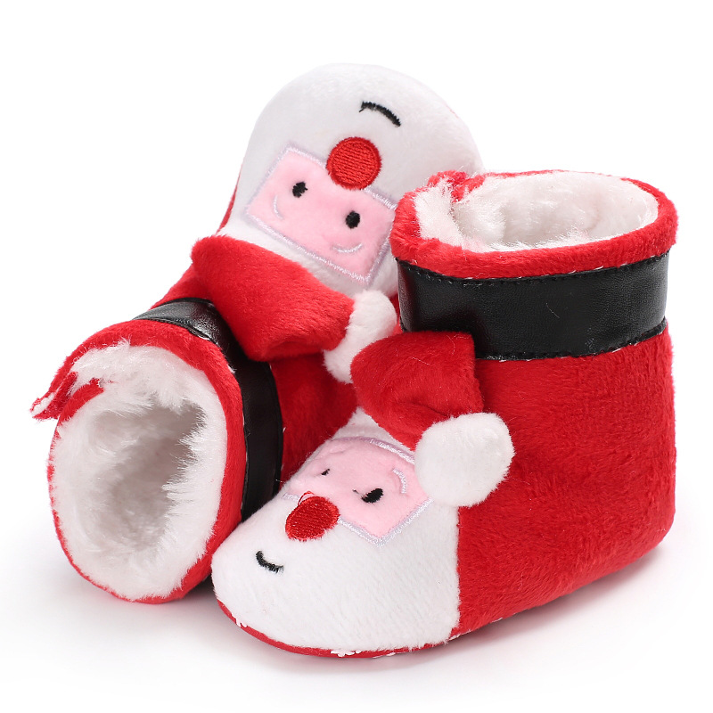 a2aab8ca1e Winter Christmas Santa Claus Baby Snow Boots Toddlers Anti-slip Baby Boy  Girl First Walkers Shoes Warm Baby Shoes DS19