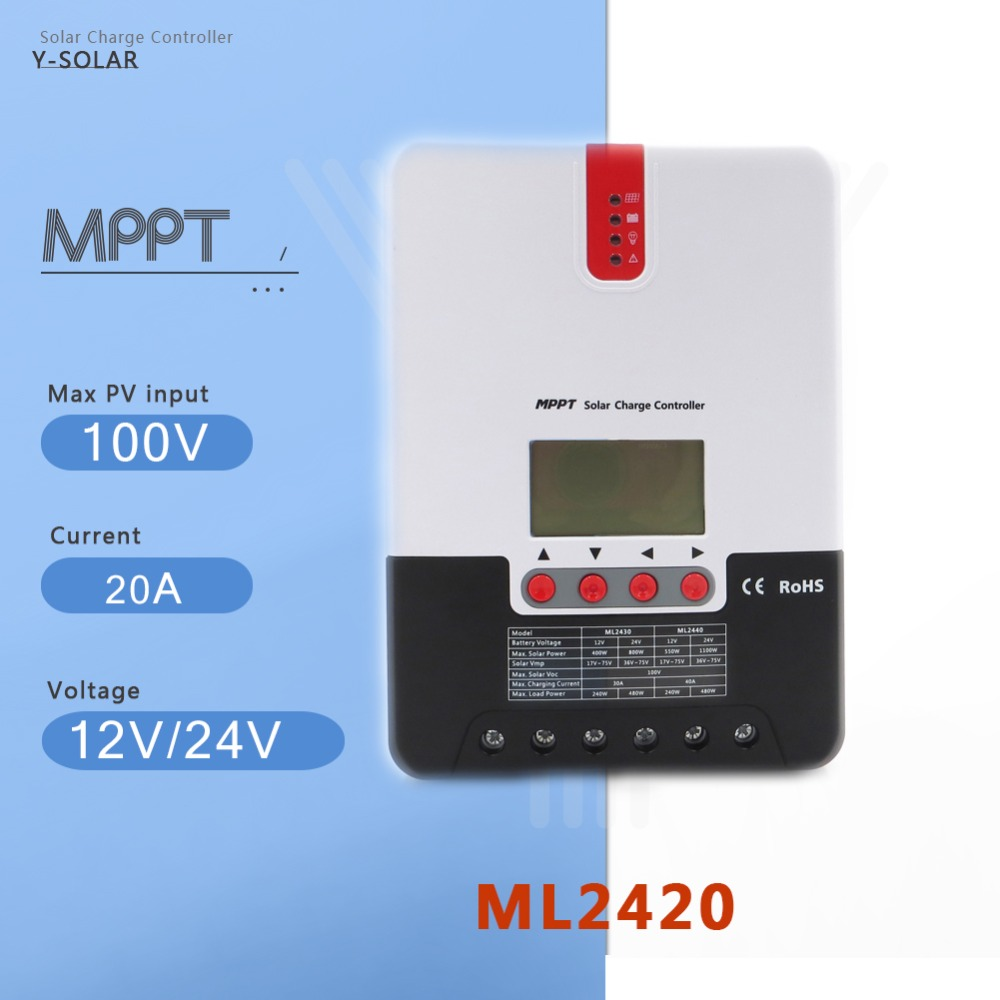 Y-SOLAR PV Efficitient transfer charger Controller MPPT solar 20A battery regulator LCD displayY-SOLAR PV Efficitient transfer charger Controller MPPT solar 20A battery regulator LCD display
