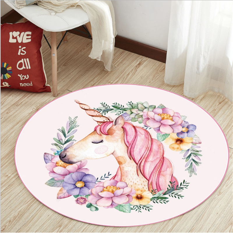 AOVOLL Cartoo  Children Unicorn Round Carpets For Living Room Bedroom Rugs Floor Mat Carpet Kids Room Non-slip And Anti-wrinkle