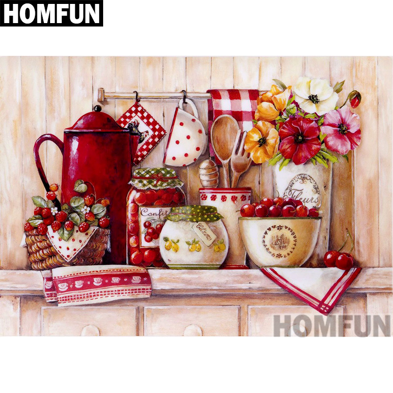Diamond Painting Cross Stitch Homfun Full Square/round Drill 5d Diy Diamond Painting retro Cups 3d Embroidery Cross Stitch 5d Home Decor A00830 Price Remains Stable Home & Garden