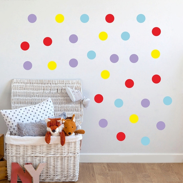 Mix Color Polka Dots Wall Sticker Wall Decal, Removable Home Decoration Art  Wall Decor