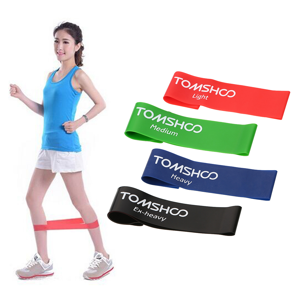 TOMSHOO Elastic Resistance Bands Workout Rubber Loop Latex Gym Strength Training Loops Elastic Bands Gym Home Fitness Equipment