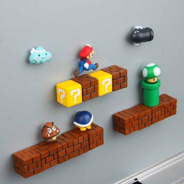 63 sztuk 3D Super Mario magnesy na lodówkę żywiczną zabawki dla dzieci ozdoby do dekoracji domu figurki ścienne Mario magnes kule cegły