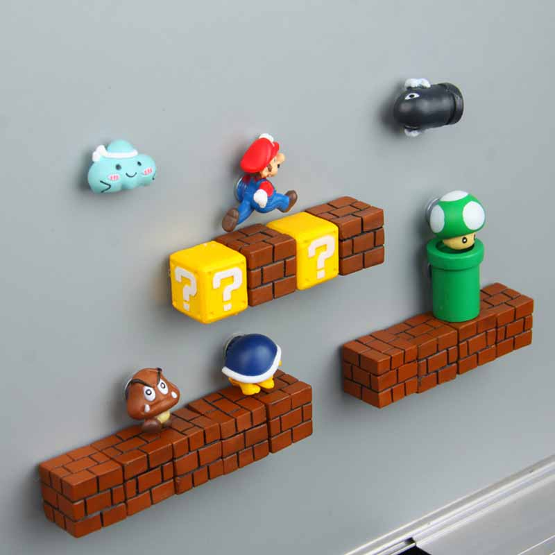 Closeout DealsFridge-Magnets-Toys Ornaments Bullets-Bricks Figurines Wall Home-Decoration 3D Kids Super-Mario-Resin