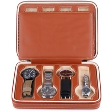 8 Grids Watch Storage Box Leather PU Showing Watches Display Storage Box Case Tray Zippered Travel Watch Collector Case