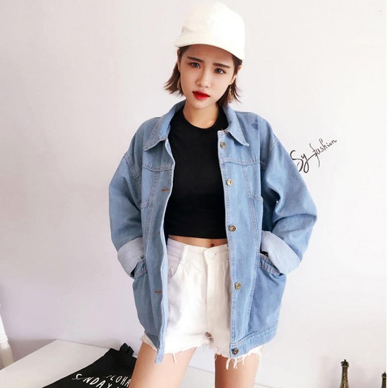 boyfriend style oversized denim jacket womens 2017 vintage