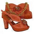Novo Sapato Italiano com Saco de Harmonização Sapato Decorado com Apliques Africano e Saco de Set para a Festa Em Itália Sapatos e Saco Das Mulheres conjuntos