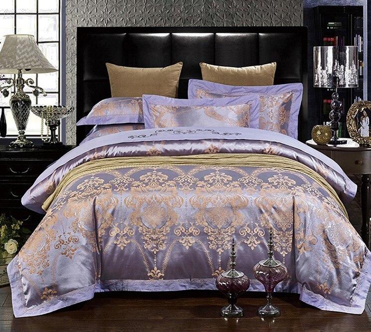 luxury purple bedding sets lilac violet satin duvet cover set jacquard bedspreads sheets bed in a